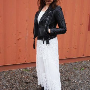 LOOK OF THE DAY – LACE & LEATHER