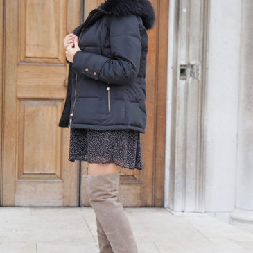 POLKA DOT DRESS AND OVER-THE-KNEE-BOOTS