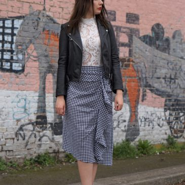 GINGHAM RUFFLE SKIRT AND MULES