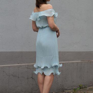 FRILL BARDOT NECKLINE PLEATED DRESS